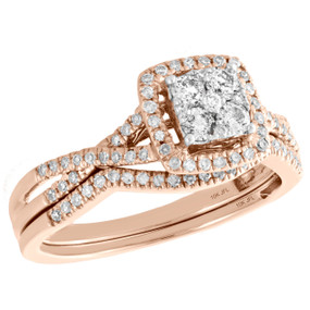 10K Rose Gold Diamond Bridal Set Cluster Engagement Ring + Wedding Band 0.50 CT.