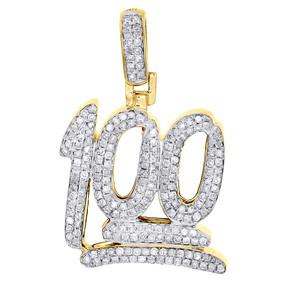 "10K Yellow Gold 100 Number Emoji Character Diamond Pendant Mens 1"" Charm 1/2 Ct."
