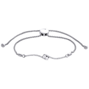 10K White Gold Round Diamond 2 Stone Hearts Together Fany Bolo Bracelet 1/3 CT.