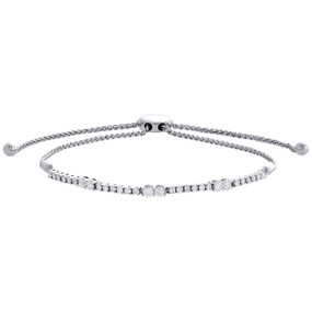 10K White Gold 1 Row Prong Set Genuine Diamonds Tennis Bolo Bracelet 11"