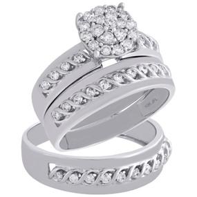 10K White Gold Diamond Trio Set Matching Engagement Ring & Braided Band 0.88 Ct.