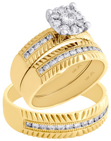 14K Yellow Gold Solitaire Diamond Trio Set Engagement Ring & Wedding Band 3/4 Ct