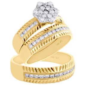 14K Yellow Gold Diamond Trio Set Matching Flower Engagement Ring & Band 3/4 Ct.