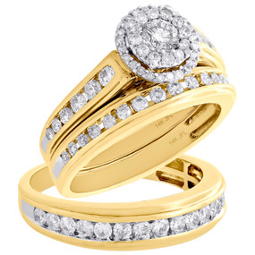 14K Yellow Gold Solitaire Diamond Trio Set Halo Engagement Ring + Band 1.63 Ct.