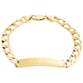 Mens Real 10K Yellow Gold Diamond Cut Cuban Link Fancy ID Bracelet 9.50mm | 9""