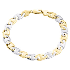 10K Two Tone Gold Puff Gucci / Mariner 8.5mm Mens Matte Fancy Link Bracelet 8.5""