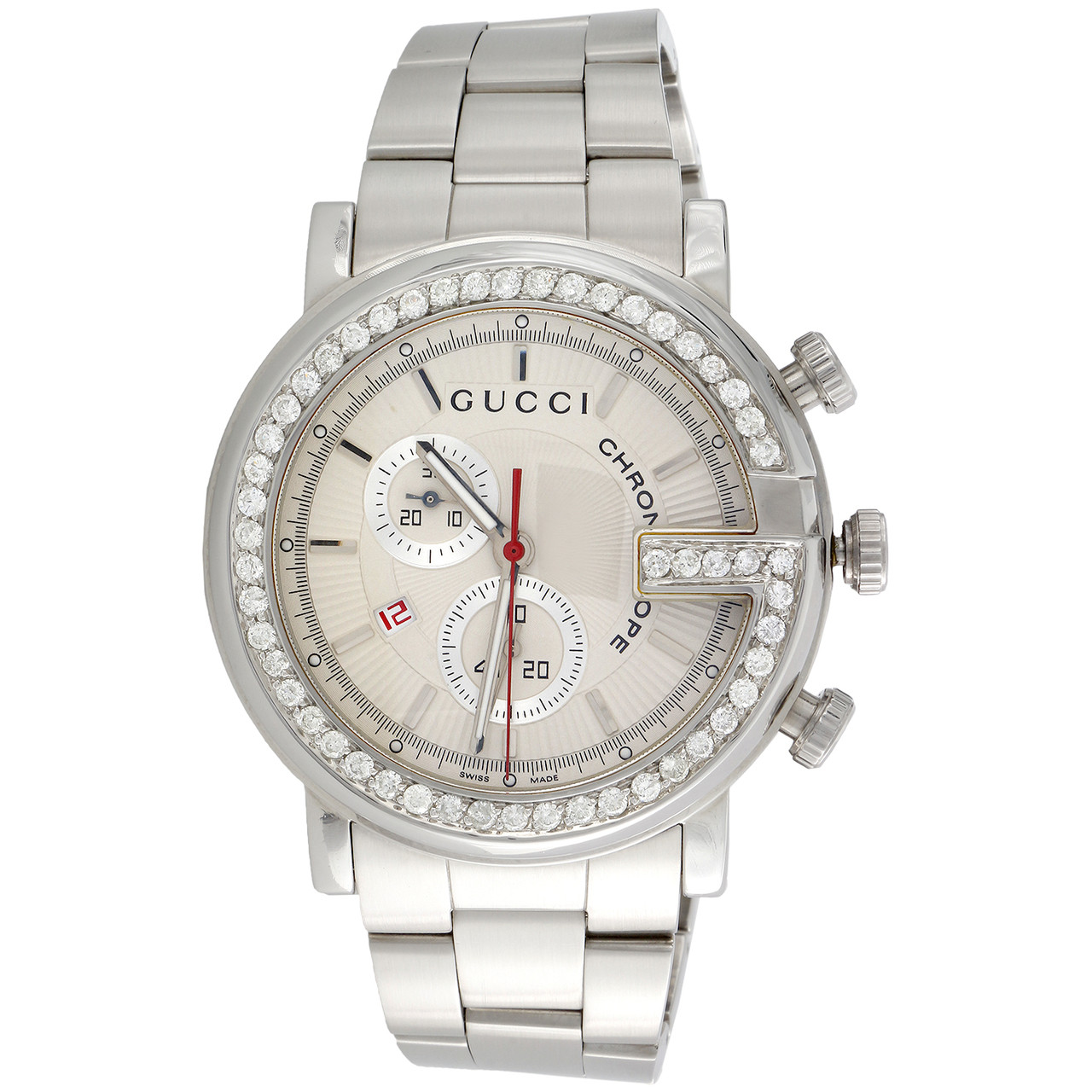 0ac46826af4 ... Mens Custom Diamond Gucci Ya101339 G-Watch White Dial Chronograph 44mm