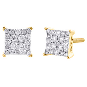 10K Yellow Gold Real Diamond Sqaure Cluster 4 Prong Studs 5.25mm Earrings 1/4 CT
