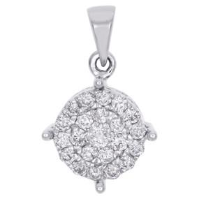 "10K White Gold Genuine Round Diamond 4 Prong Cluster Pendant 0.70"" Charm 1/2 CT."