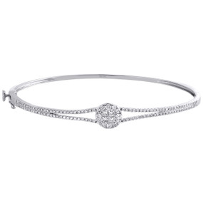 14K White Gold Genuine Princess & Round Cut Diamond Bangle Soleil Bracelet 1 CT.
