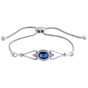 56bea392ced Sterling Silver & Diamond Oval Lab-Created Sapphire Bolo Bracelet 10