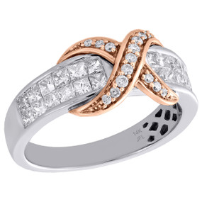 14K Two Tone Gold Ladies Princess Diamond Rose Infinity Love Cocktail Ring 1 Ct.