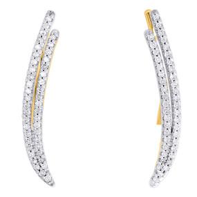 "10K Yellow Gold Real Diamond Double Two Row Ear Climber Earrings 0.95"" | 1/4 CT."