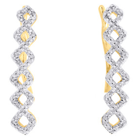 10K Yellow Gold Real Round Diamond Symmetrical Climber Earrings 0.95"