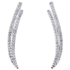10K White Gold Real Diamond Double Two Row Ear Climber Earrings 0.95"