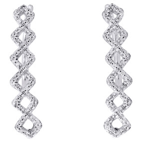 10K White Gold Real Round Diamond Symmetrical Climber Earrings 0.95"