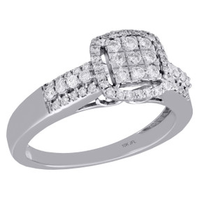 10K White Gold Womens Round Diamond Square Halo Tiered Engagement Ring 0.50 Ct.