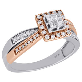 10K Two Tone Gold Ladies Round Diamond Criss Cross Halo Engagement Ring 0.38 Ct.