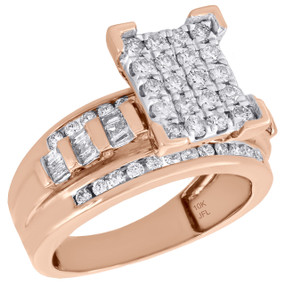 10K Rose Gold Round & Baguette Cut Diamond Rectangle Engagement Ring 1 Ct.