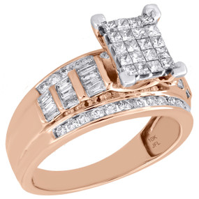 10K Rose Gold Princess & Baguette Cut Diamond Rectangle Engagement Ring 1 Ct.