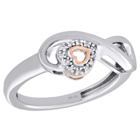 10K Two Tone Gold Diamond Infinity Heart Right Hand Promise Love Ring 1/20 Ct.