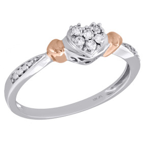 10K Two Tone Gold Cluster Diamond Heart Right Hand Promise Love Ring 1/10 Ct.