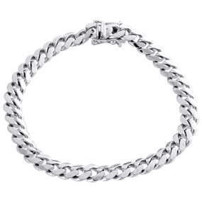Mens Real 10K White Gold 8mm Solid Miami Cuban Link Fancy Bracelet Box Clasp 9""