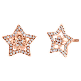 10K Rose Gold Genuine Diamond Star Studs 11mm Double Frame Pave Earrings 1/5 CT.