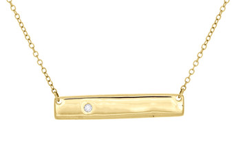 "10K Yellow Gold Round Diamond Rectangle Bar Necklace 19"" Cable Chain 0.02 CT."
