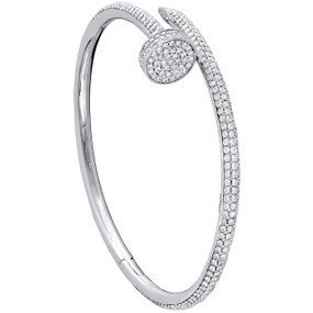 14K Solid White Gold Round Diamond Nail Bangle Size 20cm Unisex Bracelet 4 CT.