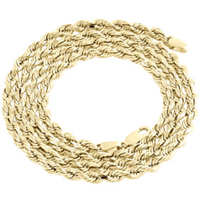 10K Yellow Gold Semi Solid Diamond Cut Rope Chain 3.75mm Fancy Link Necklace 22""