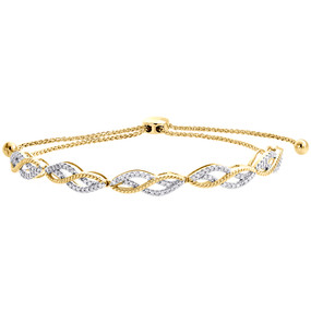 10K Yellow Gold Real Diamond Braided Milgrain Fancy Bolo Bracelet 11"