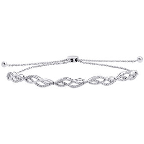 10K White Gold Real Diamond Braided Milgrain Fancy Bolo Bracelet 11"