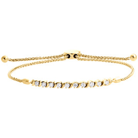 10K Yellow Gold Real Diamond 1 Row S-Link Bolo Bracelet Prong Set 10.5"