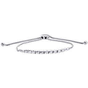 10K White Gold Real Diamond 1 Row S-Link Bolo Bracelet Prong Set 10.5"