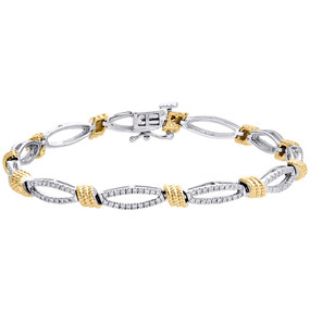 14K White & Yellow Gold Diamond Rope Milgrain Oval Link Bracelet 4.50mm | 1 CT.