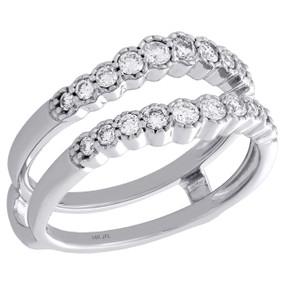 14K White Gold Bezel Set Daimond Contour Enhancer Jacket Wedding Ring 0.50 Ct.