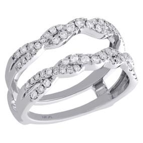 14K White Gold Diamond Braided Enhancer Wrap Jacket Twised Wedding Ring 0.50 Ct.