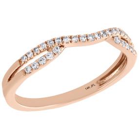 14K Rose Gold Round Diamond Contour Enhancer Ring Ladies Wedding Band 0.17 Ct.