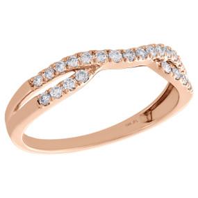 14K Rose Gold Round Diamond Contour Enhancer Ring Ladies Wedding Band 0.25 Ct.