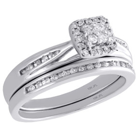 10K White Gold Diamond Bridal Set Halo Engagement Ring + Wedding Bad 0.25 Ct.