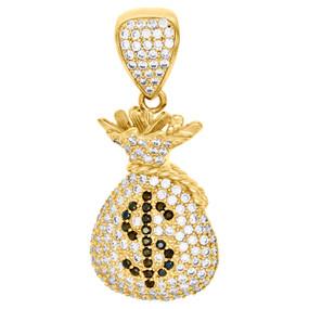 "Real 10K Yellow Gold & Cubic Zirconia Money Bag Dollar Sign Pendant Charm 1.30"""