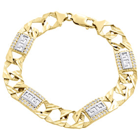 10K Yellow Gold Diamond Cut Texture Figaro Link 11mm Greek Key Fancy Bracelet 9""