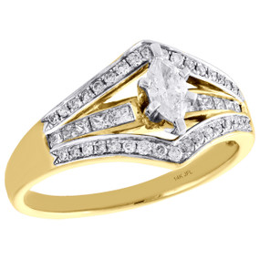 14K Yellow Gold Marquise Solitaire Diamond Split Shank Engagement Ring 1/2 CT.
