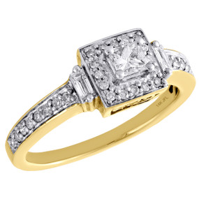 14K Yellow Gold Princess Cut Solitaire Diamond Halo Engagement Ring Band 1/2 CT.