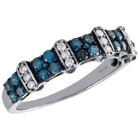 10K White Gold Blue Diamond Fancy Statement Bar Wedding Band 5mm Ring 0.70 CT.