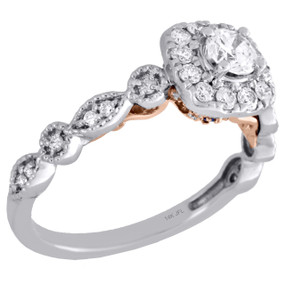 14K Two Tone Gold Round Solitaire Diamond Halo Designer Engagement Ring 0.75 Ct.