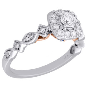 14K Two Tone Gold Round Solitaire Diamond Square Halo Engagement Ring 0.75 Ct.