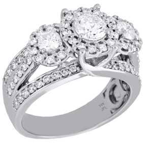 14K White Gold 3 Stone Solitaire Diamond Triple Halo Engagement Ring 1.50 Ct.