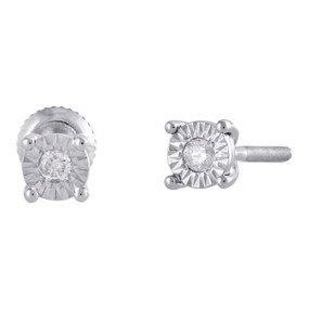10K White Gold Bezel Fanuk Set Diamond Mini Round Earrings 4mm Studs 1/20 Ct.
